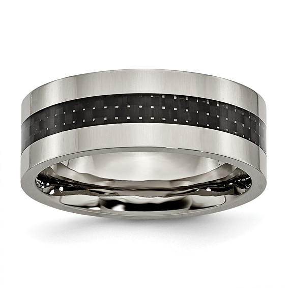 8mm Titanium Carbon Fiber Flat Wedding Band