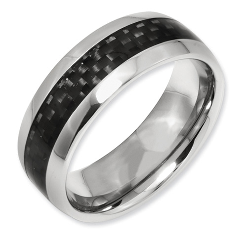 Titanium 8mm Carbon Fiber Domed Wedding Band