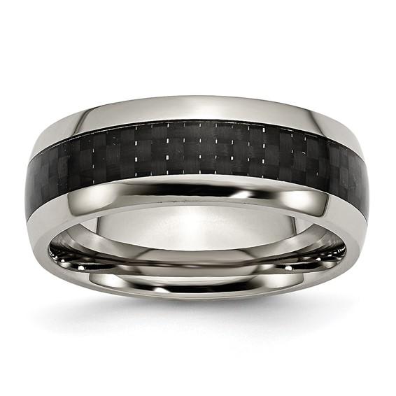 Titanium 8mm Carbon Fiber Domed Wedding Band