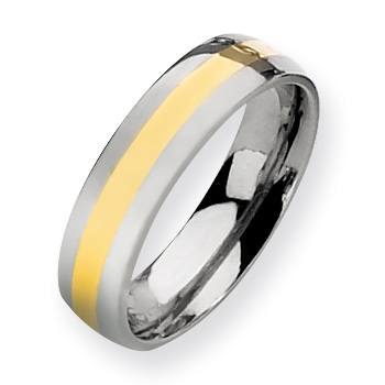 Titanium 6mm Wedding Band with 14kt Gold Inlay
