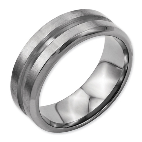 Titanium 8mm Wedding Band with Polished Deep Groove Center