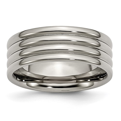 Titanium 8mm Wedding Band with Three Grooves