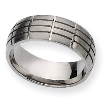 Titanium Ring 8mm with Cut Rectangle Pattern