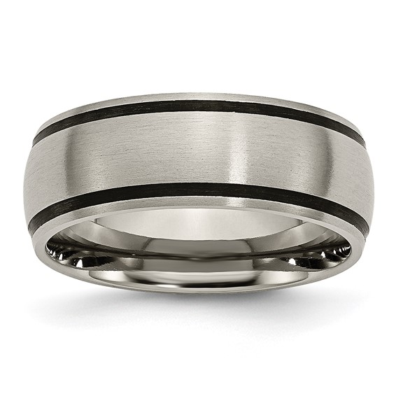 Titanium 8mm Ring with Black Accents and Brushed Finish