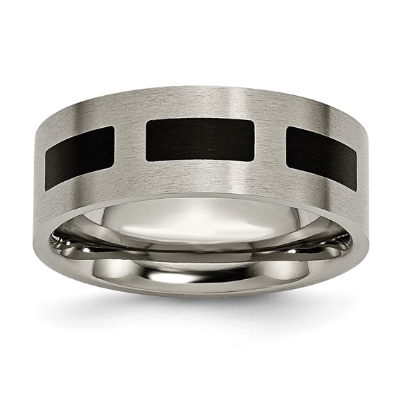Titanium 8mm Brushed Wedding Band with Black Rectangles