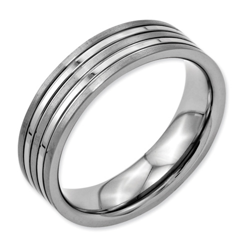 Titanium 6mm Brushed and Polished Flat Wedding Band with Grooves