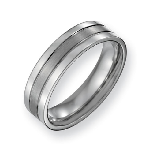 Titanium 6mm Flat Grooved Wedding Band with Satin Center