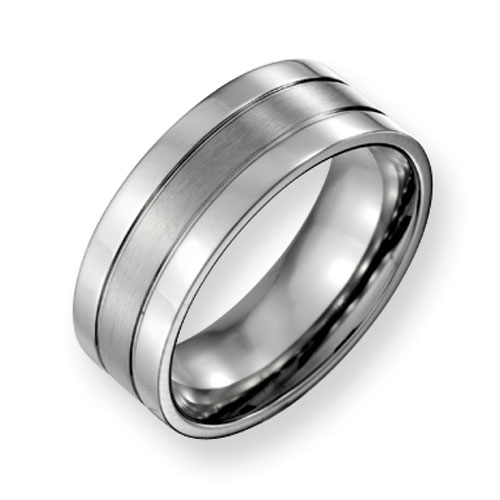 Titanium 8mm Flat Grooved Wedding Band with Brushed Center