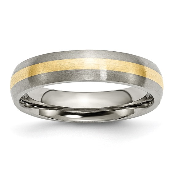 Titanium 5mm Brushed Wedding Band with 14kt Gold Inlay