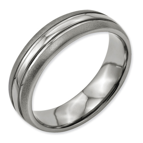 Titanium Grooved 6mm Wedding Band