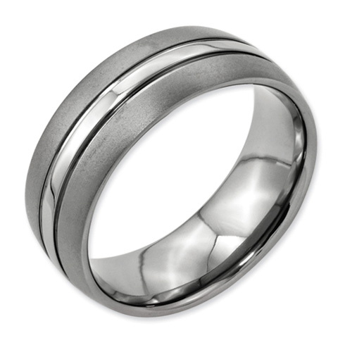 Titanium 8mm Brushed Grooved Wedding Band with Polished Center