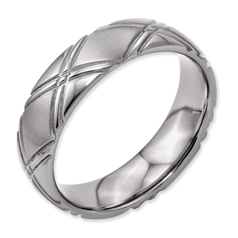 Titanium Criss-Cross Design 6mm Band