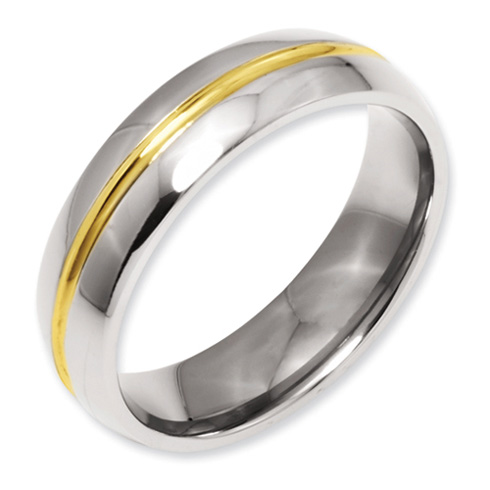 Titanium 14kt Gold Plated 6mm Wedding Band