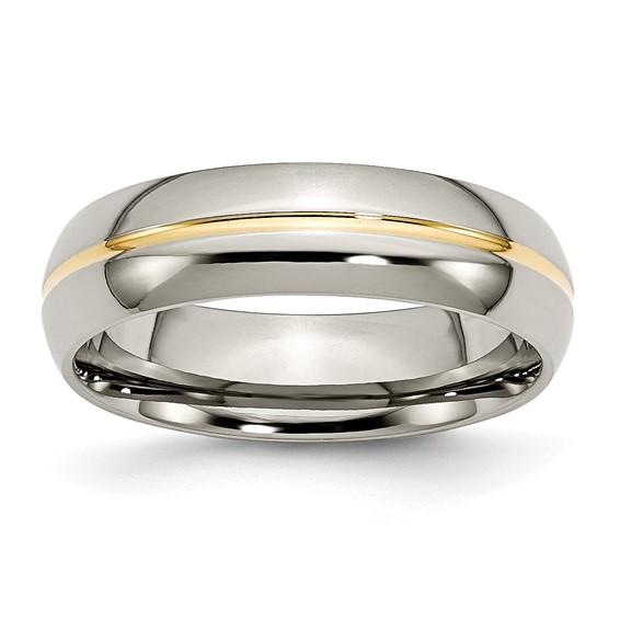 Titanium 14kt Gold Plated 6mm Wedding Band