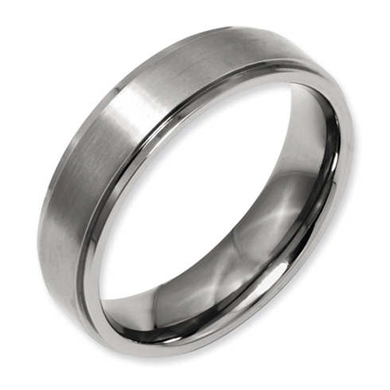 Titanium 6mm Wedding Band with Ridged Edges