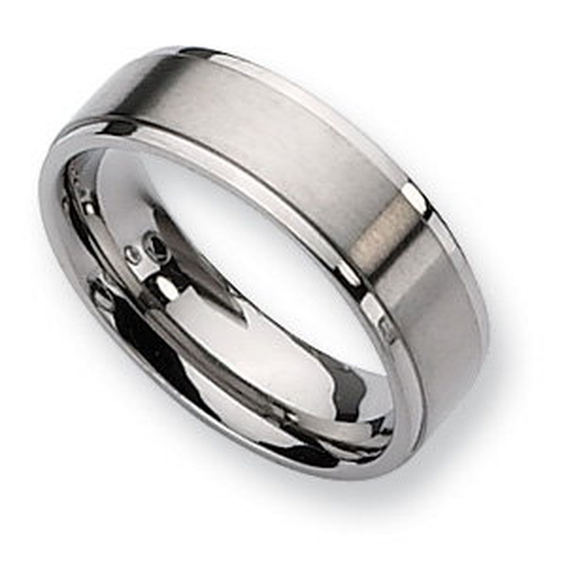 Titanium 7mm Wedding Band with Ridged Edges