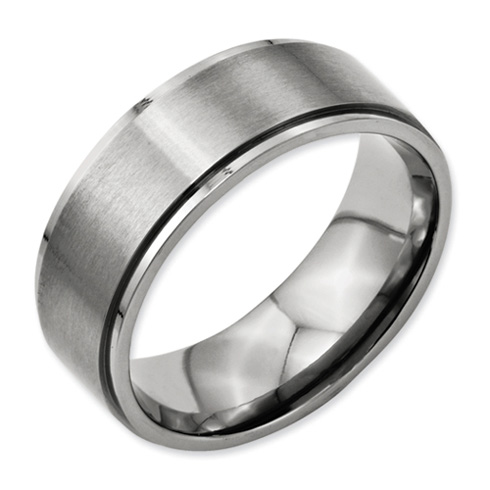 Titanium 8mm Flat Brushed Wedding Band with Ridged Edges