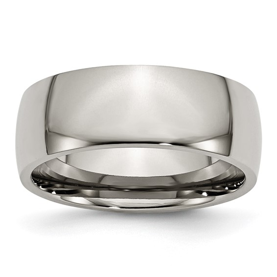 Titanium 8mm Domed Wedding Band
