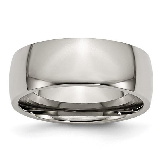 Titanium 8mm Domed Wedding Band
