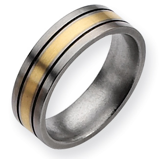 Titanium 14k Gold Inlay Flat 7mm Brushed and Antiqued Band