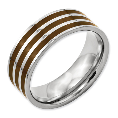 Titanium Brown Enamel 8mm Band