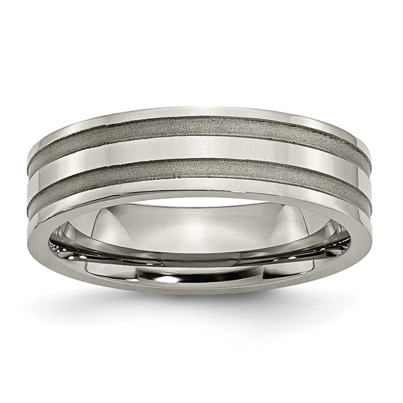 Titanium Wedding Band with Brushed Grooves 6mm