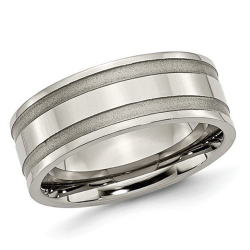 Titanium 8mm Wedding Band with Wide Satin Grooves