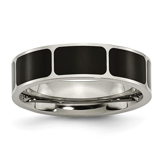 Titanium Black Enamel 6mm Band