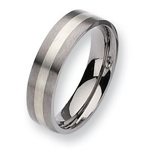 Flat Titanium Sterling Silver Inlay 6mm Band with Satin Finish