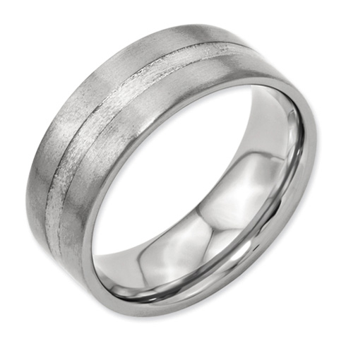 Titanium 8mm Sterling Silver Inlay Satin Wedding Band