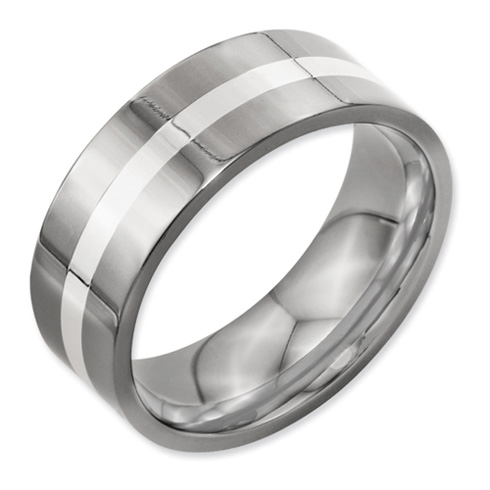 Titanium Sterling Silver Inlay 8mm Wedding Band