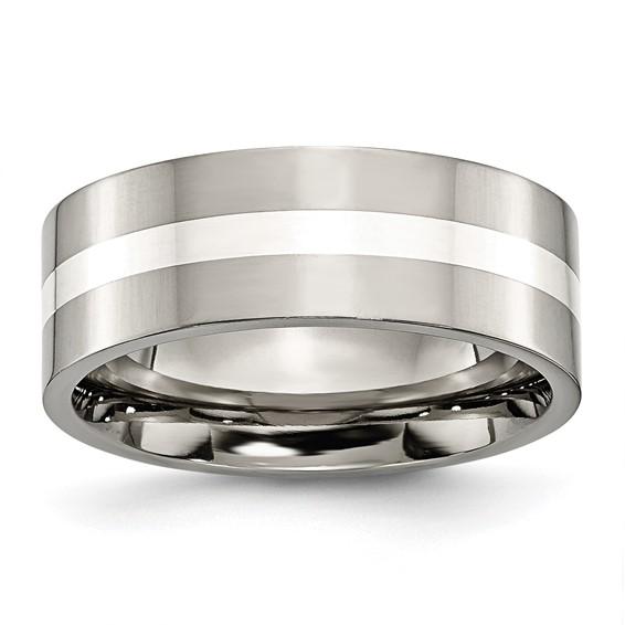 Titanium Sterling Silver Inlay 8mm Wedding Band