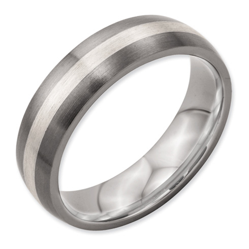 Titanium 6mm Brushed Ring with Sterling Silver Inlay