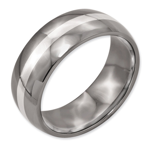 Titanium 8mm Wedding Band with Sterling Silver Inlay