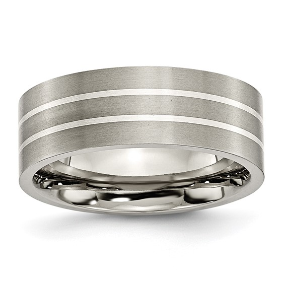 Titanium 8mm Sterling Silver Inlay Brushed Wedding Band