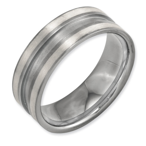 Titanium Grooved 8mm Band with Sterling Silver Inlay