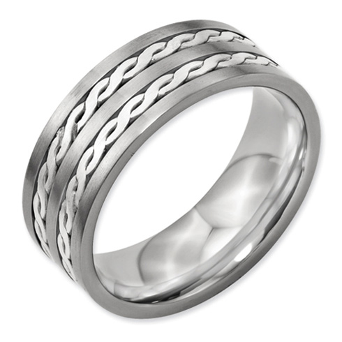 Titanium 8mm Sterling Silver Rope Inlay Wedding Band