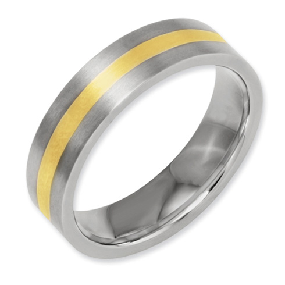 Titanium 14k Gold Inlay 6mm Satin Band