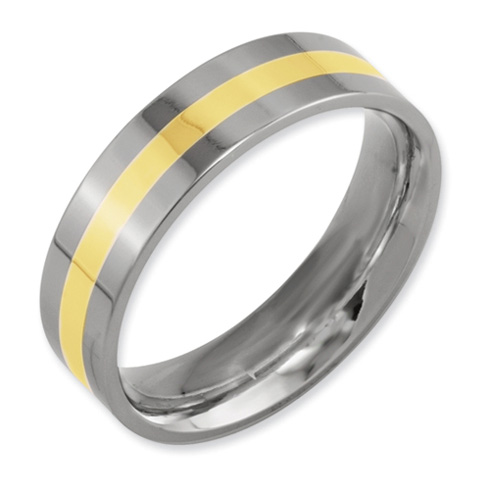 Titanium 14k Gold Inlay Flat 6mm Band