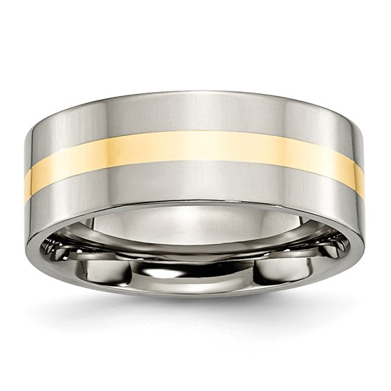 Titanium 8mm 14kt Gold Inlay Flat Polished Wedding Band