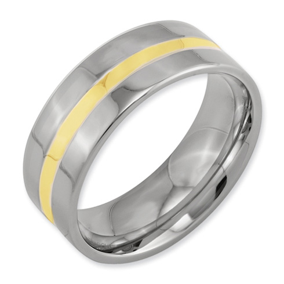 Titanium 8mm 14kt Gold Inlay Flat Polished Wedding Band