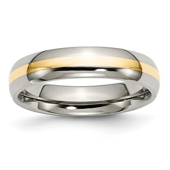 Titanium 14k Gold Inlay 5mm Wedding Band