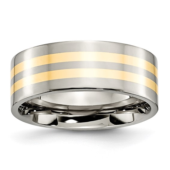 Titanium 8mm Wedding Band with Two 14k Yellow Gold Inlays