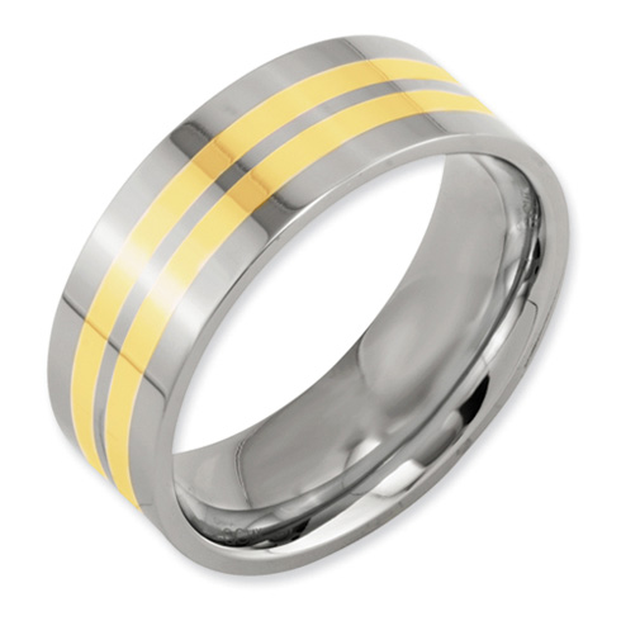 Titanium 14k Gold Inlays 8mm Polished Wedding Band