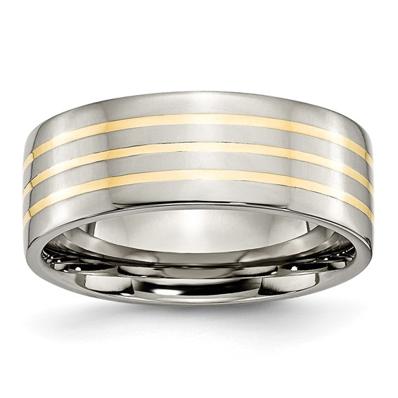 Titanium 8mm Polished Wedding Band with Three 14k Yellow Gold Inlays