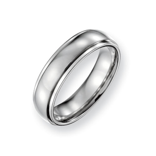 Titanium Wedding Band with Ridged Edges and Polished Finish 6mm