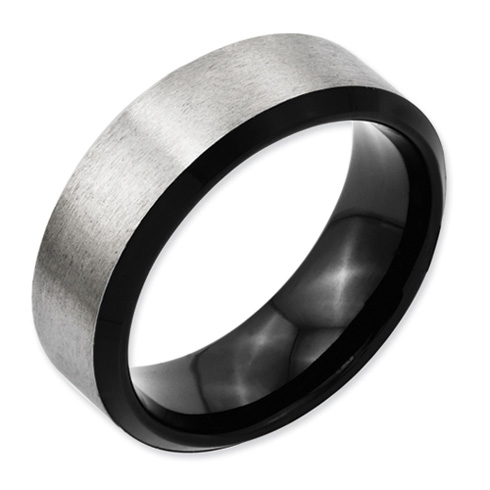 Black Plated Gray Titanium 8mm Ring with Beveled Edges