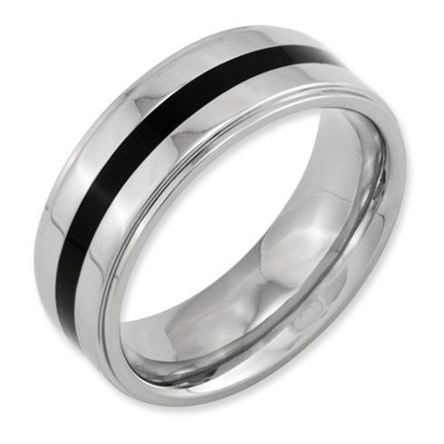 8mm Titanium Enameled Band with Ridged Edges
