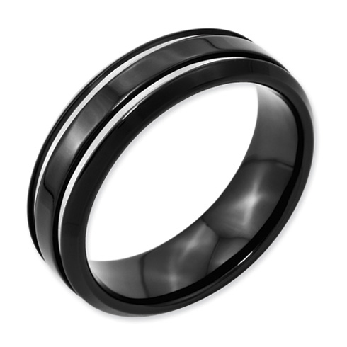 Black Plated 7mm Titanium Wedding Band with Grooves