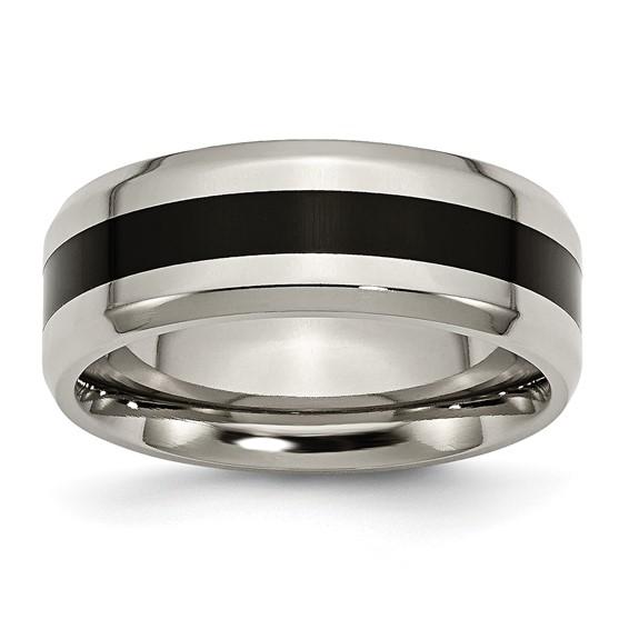 Black Enameled 8mm Titanium Ring with Beveled Edges
